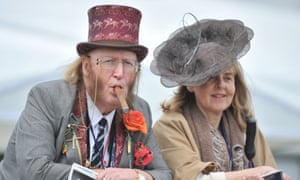 John Mccririck with his wife, Jenny, at the Derby in 2009.