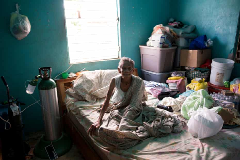 Flora Picar Cruz, 82, in her bedroom. Flora is Puerto Rican, and suffers respiratory health issues.