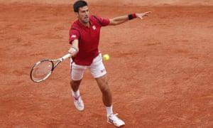 Novak Djokovic returns in his third-round match against Britain''s Aljaz Bedene at the French Open.