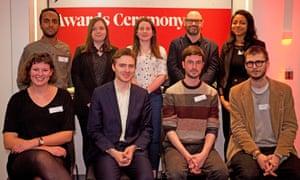 The shortlisted entrants: back row, left to right: Yohann Koshy, Tara McEvoy, Amber Murray, Jason Watkins, Micha Frazer-Carroll. Front row, left to right: Kate Wyver, Peter Chappell, Michael Perrett, George Grylls.