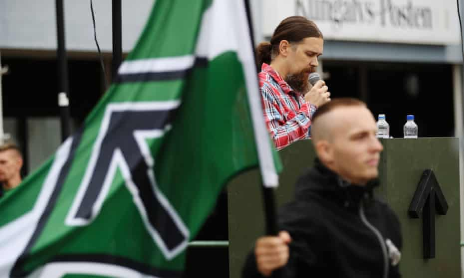 Fredrik Vejdeland of the neo-Nazi Nordic Resistance Movement speaks at a rally in Kungälv.