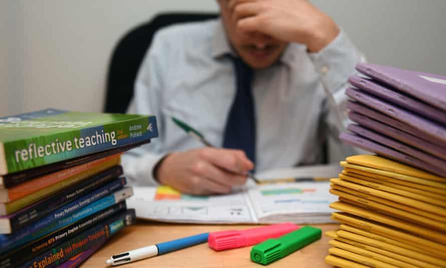 A teacher marks homework.
