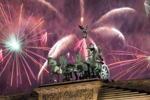 Fireworks over Berlin's Brandenburg Gate