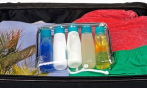A bag containing 100ml containers of liquids