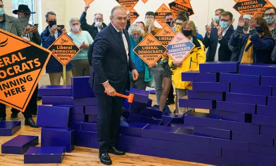 Liberal Democrat leader Ed Davey in Chesham, Buckinghamshire, after the Chesham and Amersham byelection, 18 June 2021.
