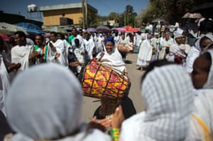 Playing the drums in the procession