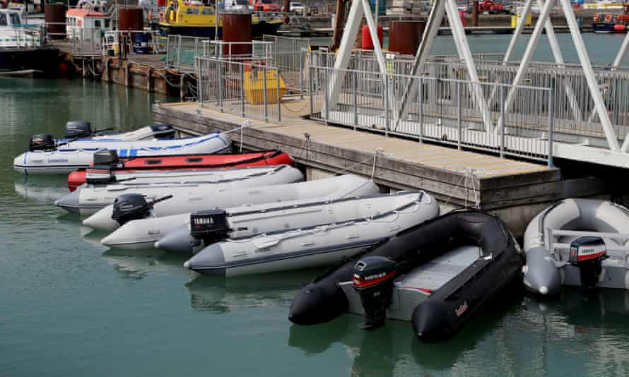 Dinghies tied up at the port of Dover after being seized by Border Force officers.