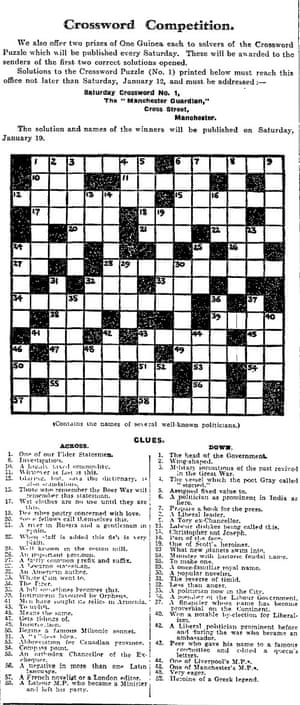 The first crossword to appear in the Manchester Guardian.