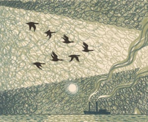 Hayes's graphic novel portrays the poem in shades of green.
