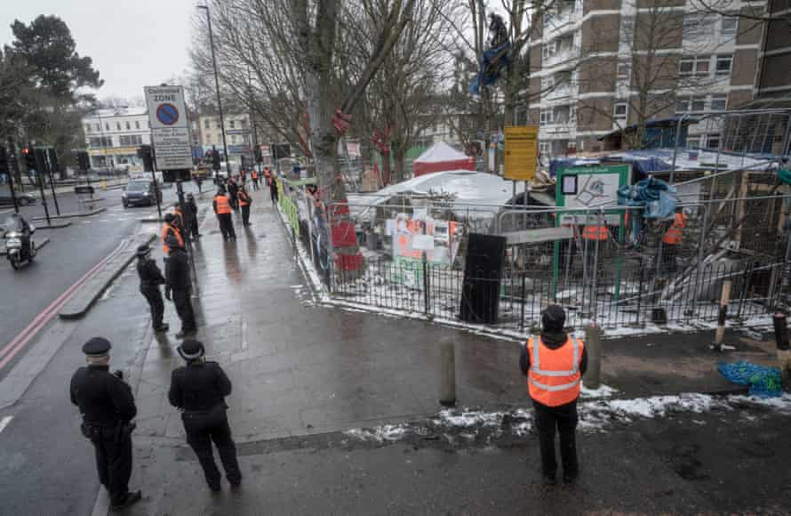 Highbury corner, where the protest is closed off by police and contractors.