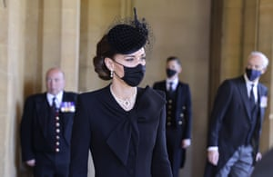 Kate, Duchess of Cambridge, center, arrives to attend the funeral of Britain's Prince Philip inside Windsor Castle in Windsor, England, Saturday, 17 April 2021.