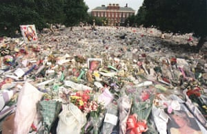 The sea of flowers laid by mourners outside Kensington Palace, London, in 1997 after the sudden death of Diana, Princess of Wales.