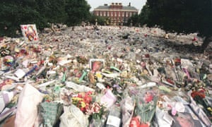 Flowers laid by members of the public outside Kensington Palace after Diana's death.