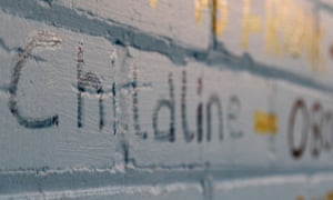 Telephone Help Lines for Rape Crisis and Childline written on a wall in a youth centre.