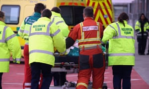 An Air Ambulance team delivers a patient to the A&E department at Birmingham Queen Elizabeth Hospital