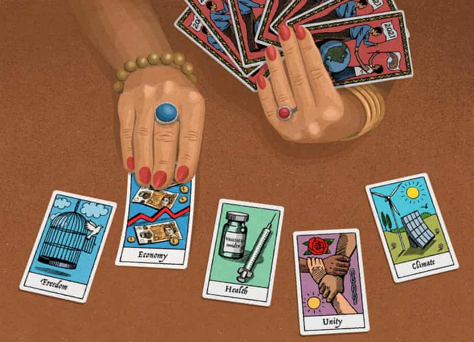 An illustration of hands holding and laying out tarot cards