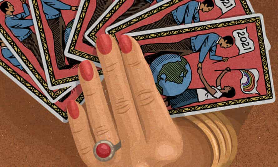 Illustration of a hand holding tarot cards
