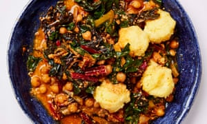 Meera Sodha's chickpea, chard and sunflower seed egusi with polenta dumplings.