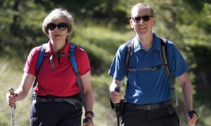 Theresa May with her husband on a walking holiday in the Swiss Alps.