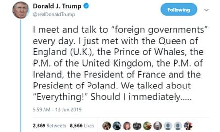 Trump's epic Prince of Whales tweet
