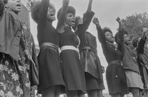 #62 from A Photographic Essay on The Black Panthers (Black Panthers from Sacramento, Free Huey Rally, Bobby Hutton Memorial Park, Oakland, CA), 1968.
