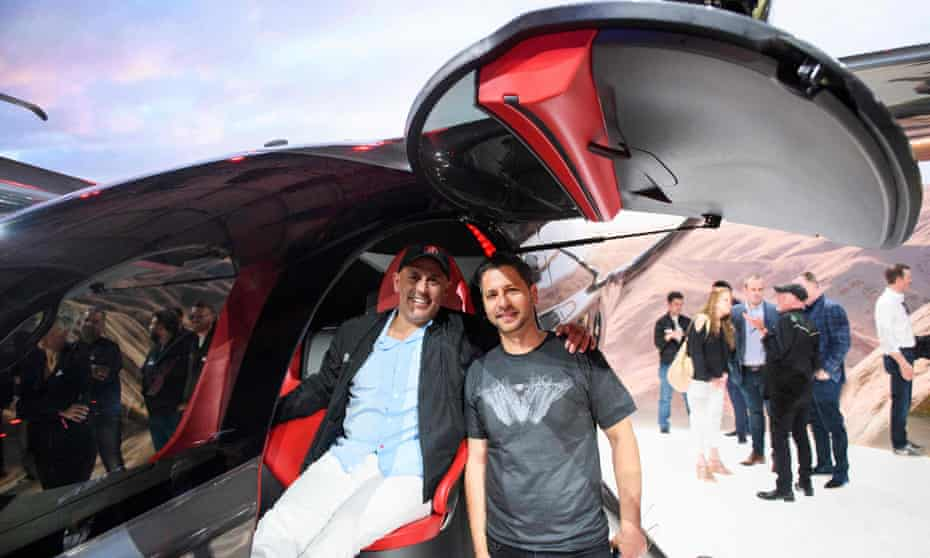 Entrepreneur Marc Lore, left, at a high-tech aviation expo in Hawthorne, California. Lore wants to build a 'city of the future' in the desert.