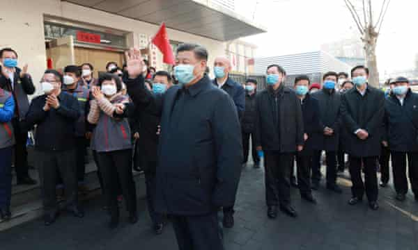 Chinese president Xi Jinping inspects coronavirus prevention and control work in Beijing on Monday.