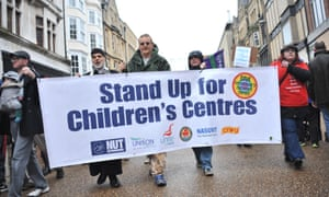 A march against cuts in children's centres