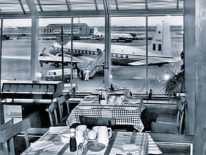 If you were a plane spotter at London Airport, you didn't have to stop to eat – you were afforded a fine view of the apron from the restaurant in the terminal building. This 1958 view shows Alitalia Douglas DC-6B I-DIMB right outside, but you had to ensure the window was closed when it started up or smoke from the engines might ruin your appetite!