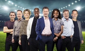 ITV's World Cup team includes Eniola Alukom, third from right, one of England's longest serving women players.