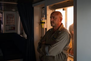 Chief engineer Miroslav Mirchev during a morning meeting in the bridge on 22nd April 2021. Each day at sea begins with a 7:30am meeting on the ship's bridge led by its captain. The meeting is an essential moment for providing logistical updates on the weather, the ship, ROV dive plans, and sharing updates from the science party.
