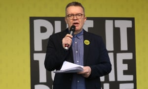Tom Watson speaks at the rally.