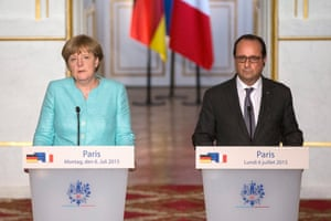 Crisis meeting in Paris between French President and German Chancellor<br>epa04834368 French President Francois Hollande and German Chancellor Angela Merkel deliver a speech to the press following a crisis meeting at the Elysee Palace regarding Greece, in Paris, France, 06 July 2015. Speaking after a bilateral meeting in Paris, Hollande drew attention to the fact that 'time is running out,' while Merkel said it was up to Greek Prime Minister Alexis Tsipras to come up with proposals on the way forward at the eurozone summit. EPA/ETIENNE LAURENT