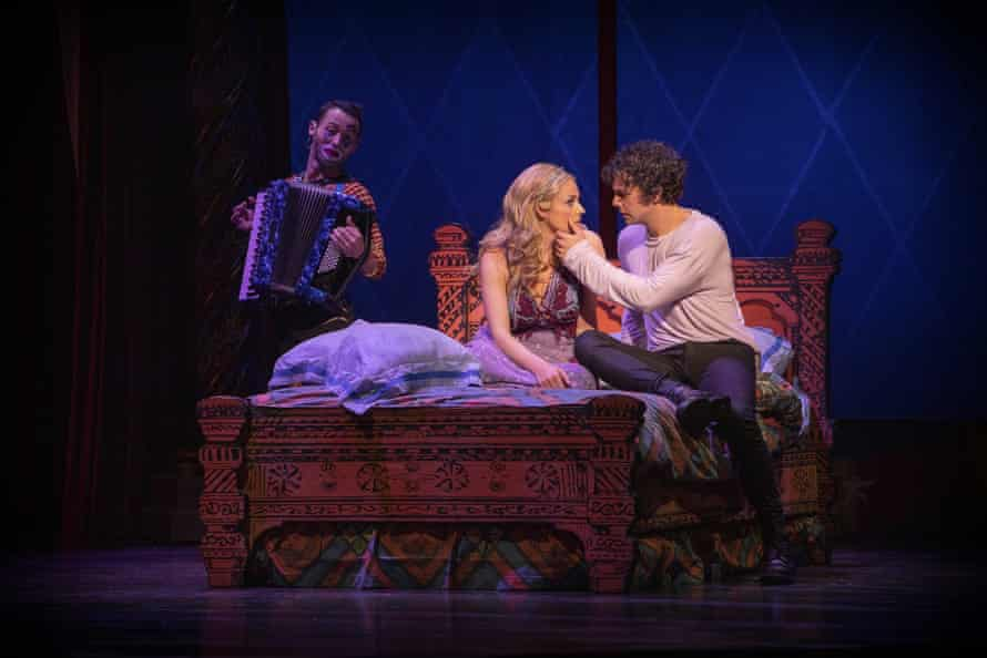 Danik Abishev, Lucy Maunder and Ainsley Melham in the Australian production of Pippin.