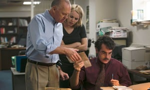 Michael Keaton, Rachel McAdams, Brian d'Arcy James in Spotlight, which is nominated for six Oscars.