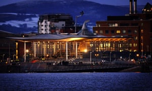 Welsh assembly building by night