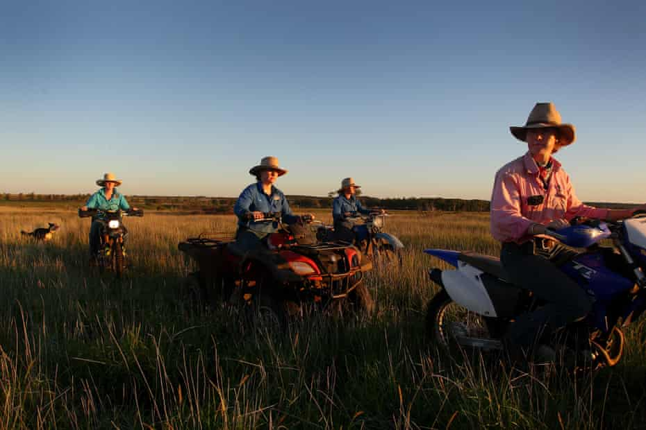 Sisters Bonnie, Molly, Jemima and Matilda Penfold take a late-afternoon ride through an open paddock at Old Bombine.