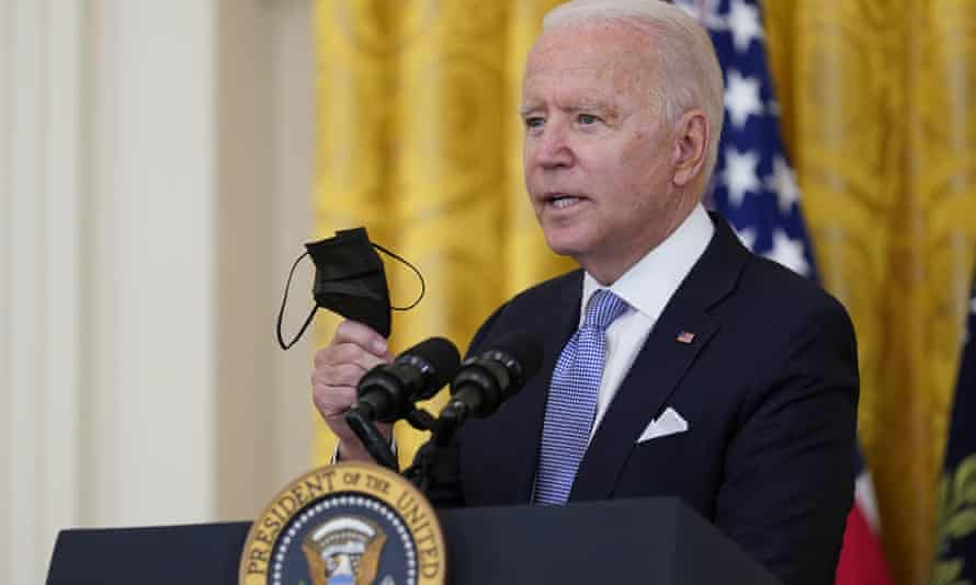 Joe Biden speaking in the East Room of the White House