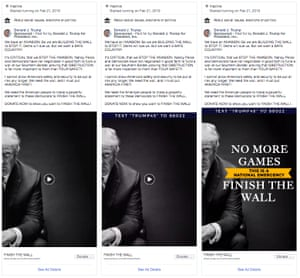 "Screengrabs of Facebook ads run by Donald Trump using white nationalist language about an ""invasion"" of immigrants"