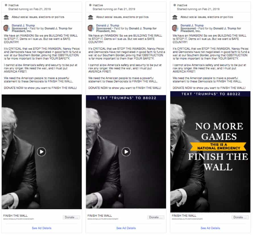 """Screengrabs of Facebook ads run by Donald Trump using white nationalist language about an """"invasion"""" of immigrants"""