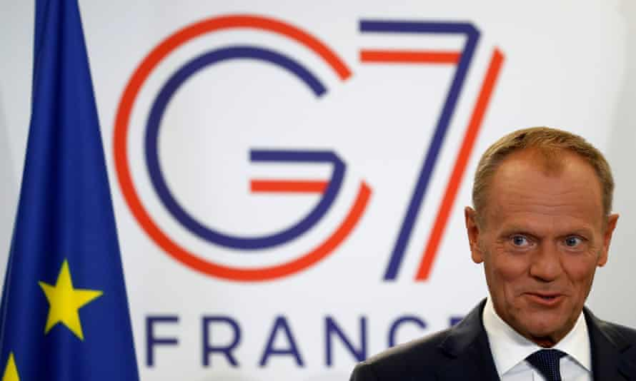 Donald Tusk at the G7 summit in Biarritz