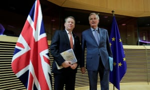 David Frost and Michel Barnier pictured in Brussels, Belgium , on 2 March