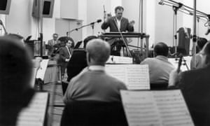 The Nelson Riddle orchestra rehearses in the mid 1960s.