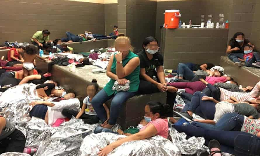 A picture of an overcrowded area holding families at a Border Patrol in Weslaco, released as part of a report by the US Department of Homeland Security's Office of Inspector General