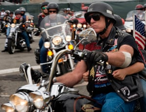 Rolling Thunder founder Sgt. Artie Muller starts Rolling Thunder 2017 in the Pentagon parking lot at the start of the 30th Anniversary of Rolling Thunder, where approximately 900,000 motorcycle riders parade thru the streets of Washington, DC, in honor of Memorial Day