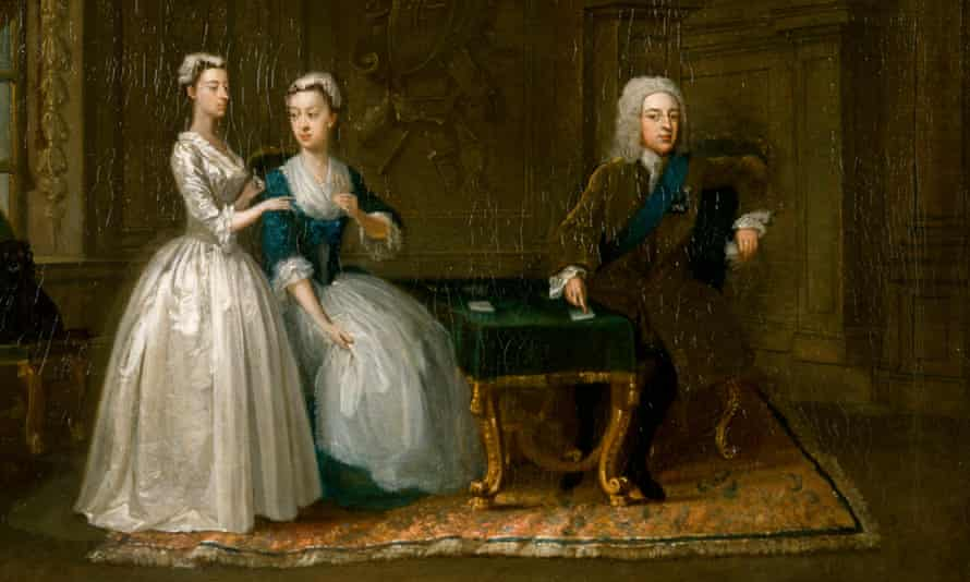 Painting of Gawen Hamilton, Portrait of John, 2nd Duke of Montagu, his wife and their youngest daughter