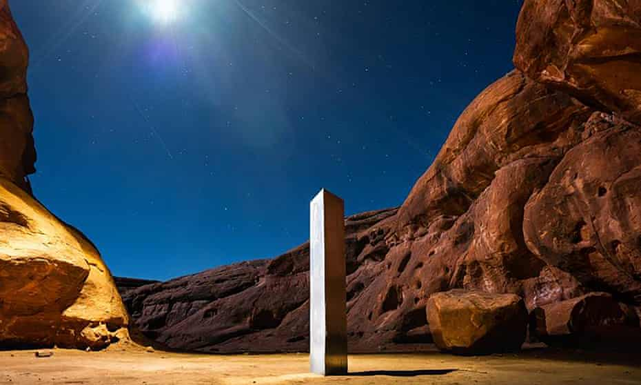 A monolith that was placed in a red-rock desert in an undisclosed location in San Juan county, southeastern Utah.