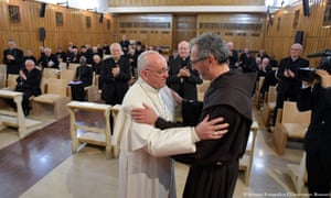Pope Francis on the last day of a spiritual retreat in Ariccia.
