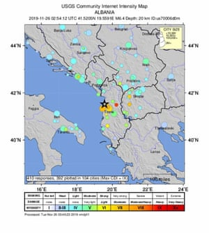 Map showing the location of the earthquake