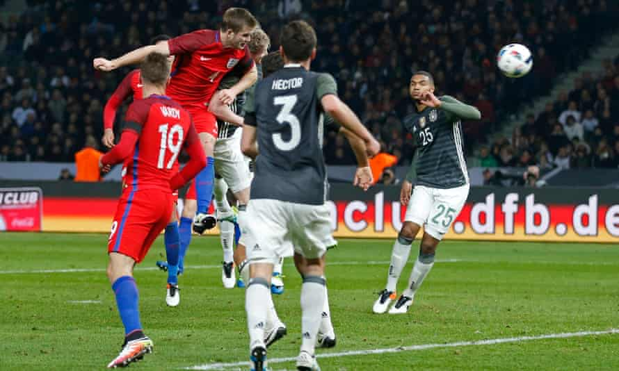 Eric Dier leaps to score the winning goal for England against Germany in the friendly at the Olympiastadion in Berlin.